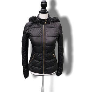 JUICY COUTURE Faux Fur Hood Puffy Jacket XS